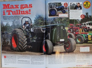 Uppslag reportage i tidningen Traktor Power från Tullus Tractorpulling